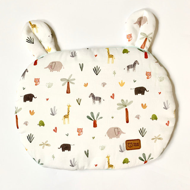 FLAT COTTON PILLOW WITH EARS - LOVELY SAFARI- BABYLLAMA STORE