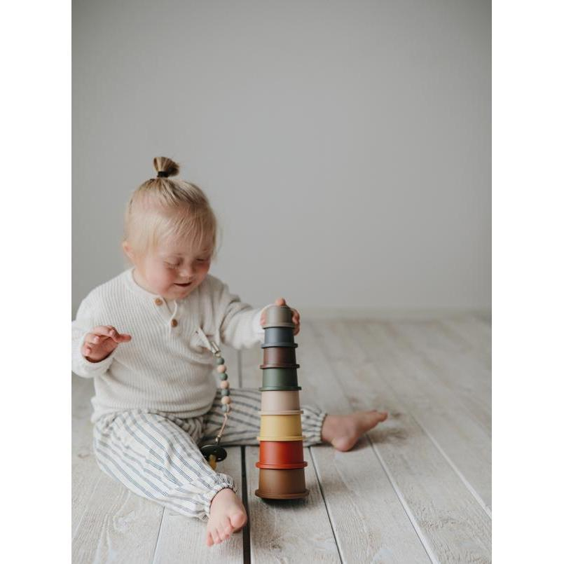 Stacking Cups Tower - Retro Rainbow - Babyllama store