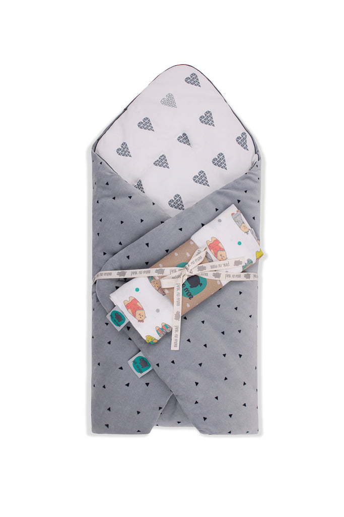 SWADDLE BLANKET SET 3in1 - GREY HEARTS - Babyllama store