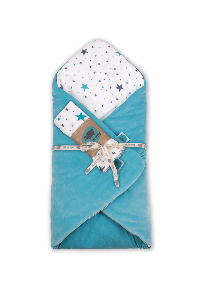 SWADDLE BLANKET SET 3in1 - TURQUOISE - Babyllama store