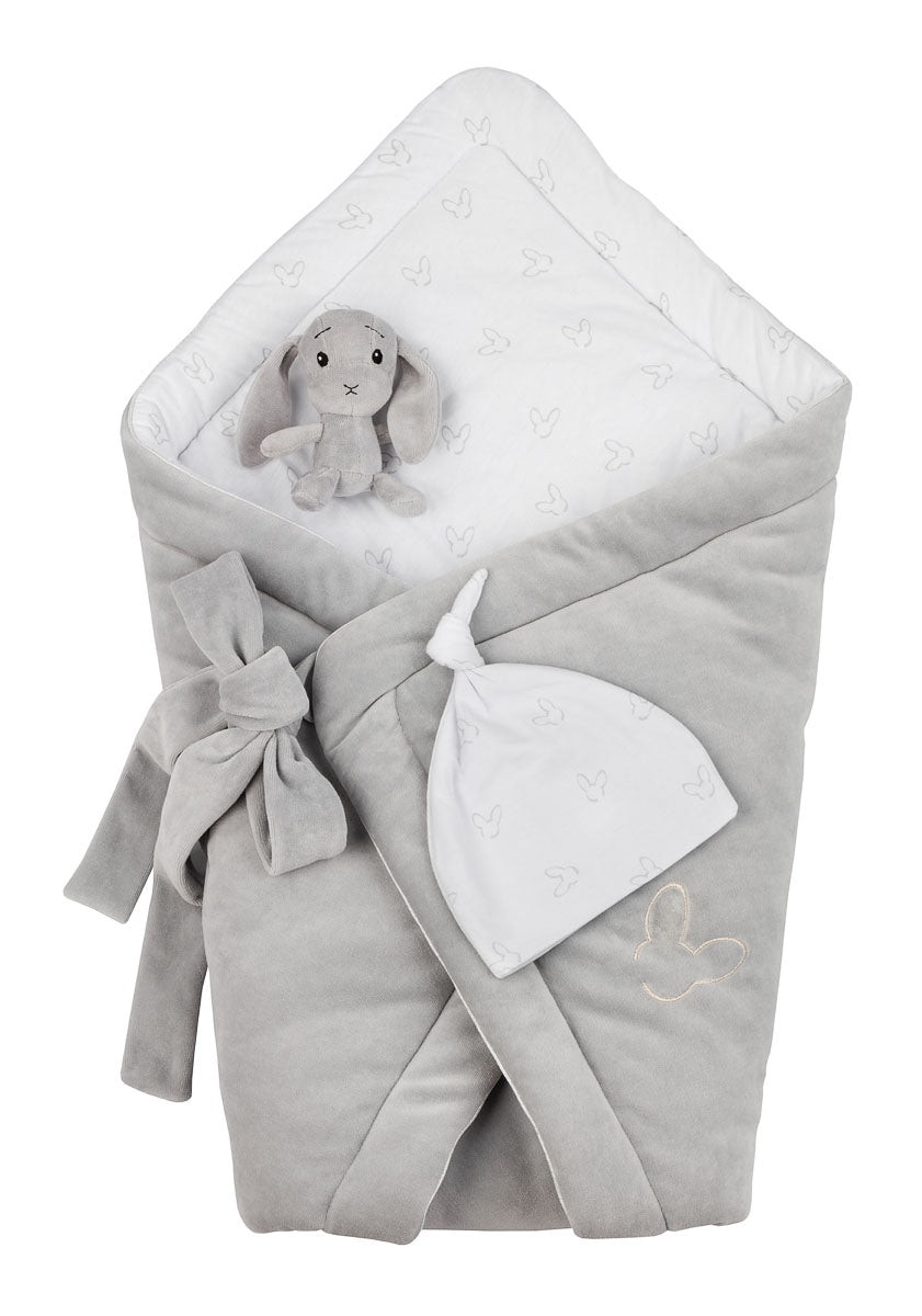 NEW BABY SET - GREY VELVET SWADDLE BLANKET + BEANIE HAT-Swaddle Blanket-Babyllama store