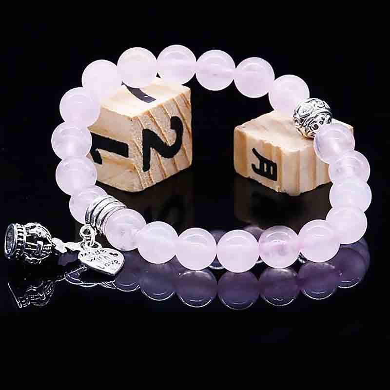 Bracelet charms Amour en Quartz rose