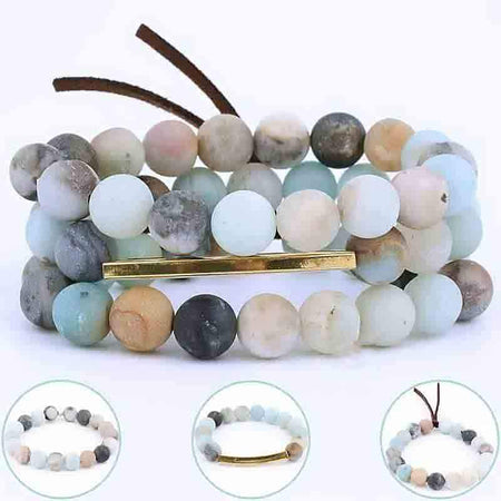 Amazonite & Rose Quartz Bracelets - Set of 3 pcs