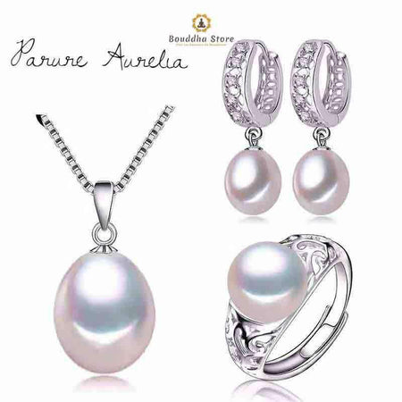 Box set Aurelia silver & white cultured pearls