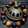 Bracelet natural stone Eye of the tiger / Eye of bull and hawk's Eye