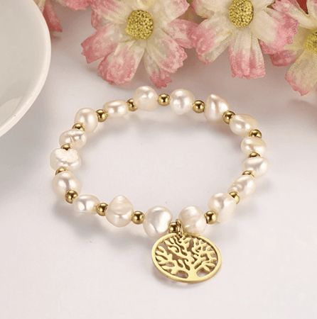 Tree of life bracelet in natural pearls
