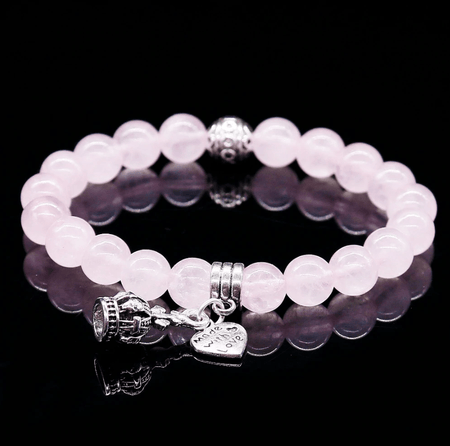 Love charms bracelet in pink Quartz