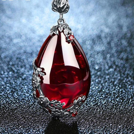 Garnet or Chalcedony and Silver drop pendant