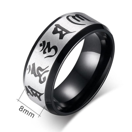 Mantra Om Mani Padmé Hum Ring in Steel