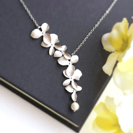 Orchid Flowers necklace