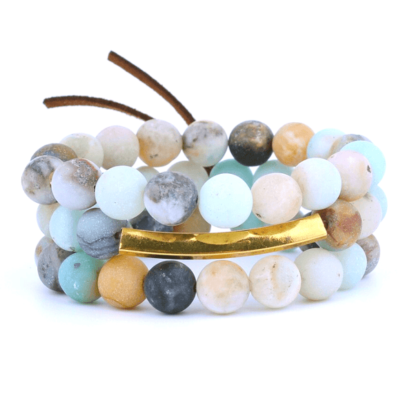 Bracelets Amazonite & Quartz rose - Lot de 3 pcs