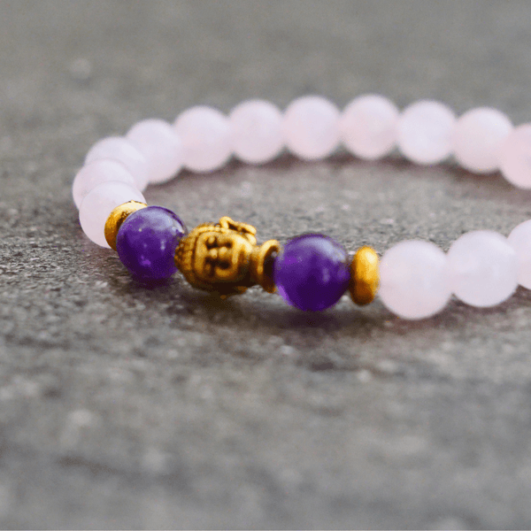 Bracelet Protection & Amour en Quartz rose/ Améthyste