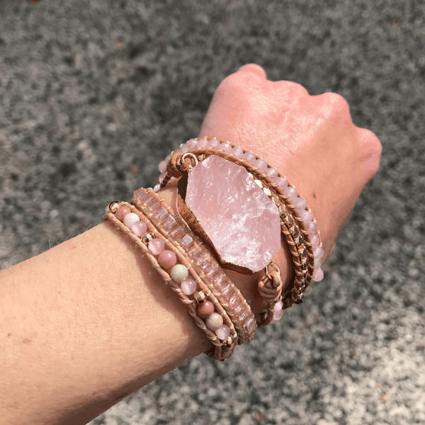 "Bracelet wrap "" Douceur "" en Quartz rose"