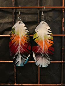 Rainbow Feather Earrings