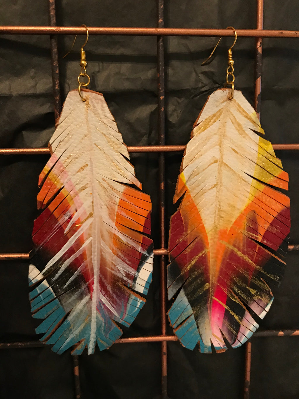 Rainbow Feather Lrg Earrings