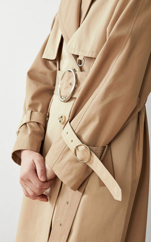 SUSTAINABLE WATER-RESISTANT TRENCH COAT
