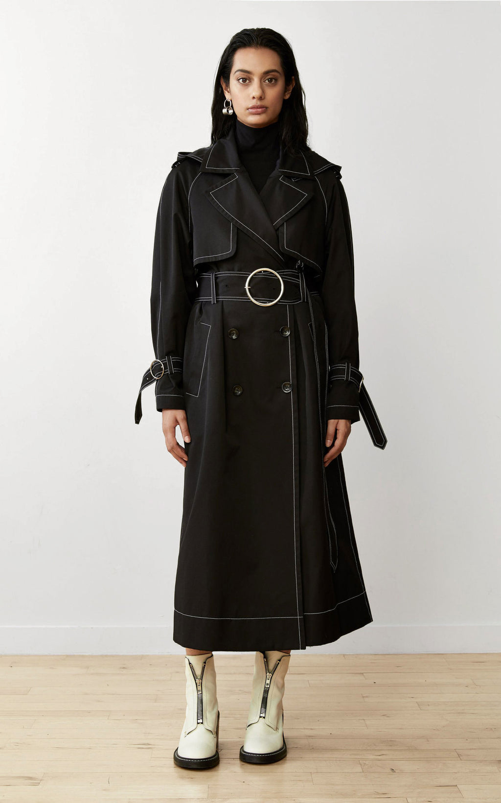 SUSTAINABLE CONTRAST STITCH BLACK TRENCH COAT
