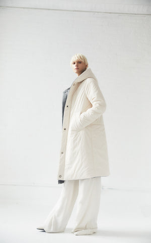 REVERSIBLE SUSTAINABLE DOWN WOOL COAT