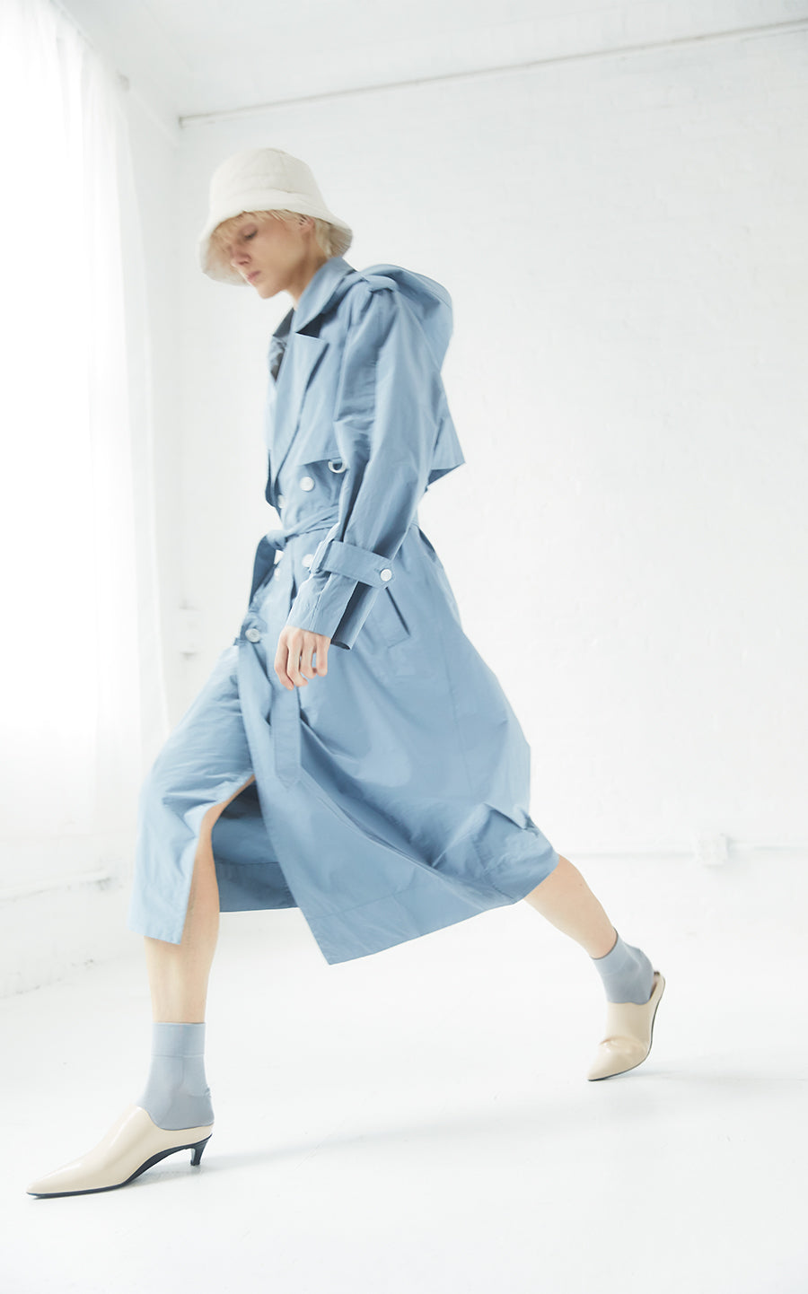 Sustainable Water Resistant Hooded Trench Coat