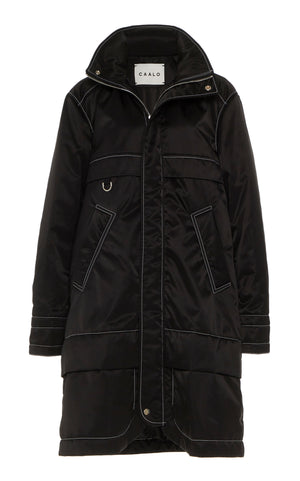 BLACK CONTRAST STITCH WATER RESISTANT ANORAK