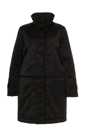 BLACK CONVERTIBLE SATIN DOWN COAT