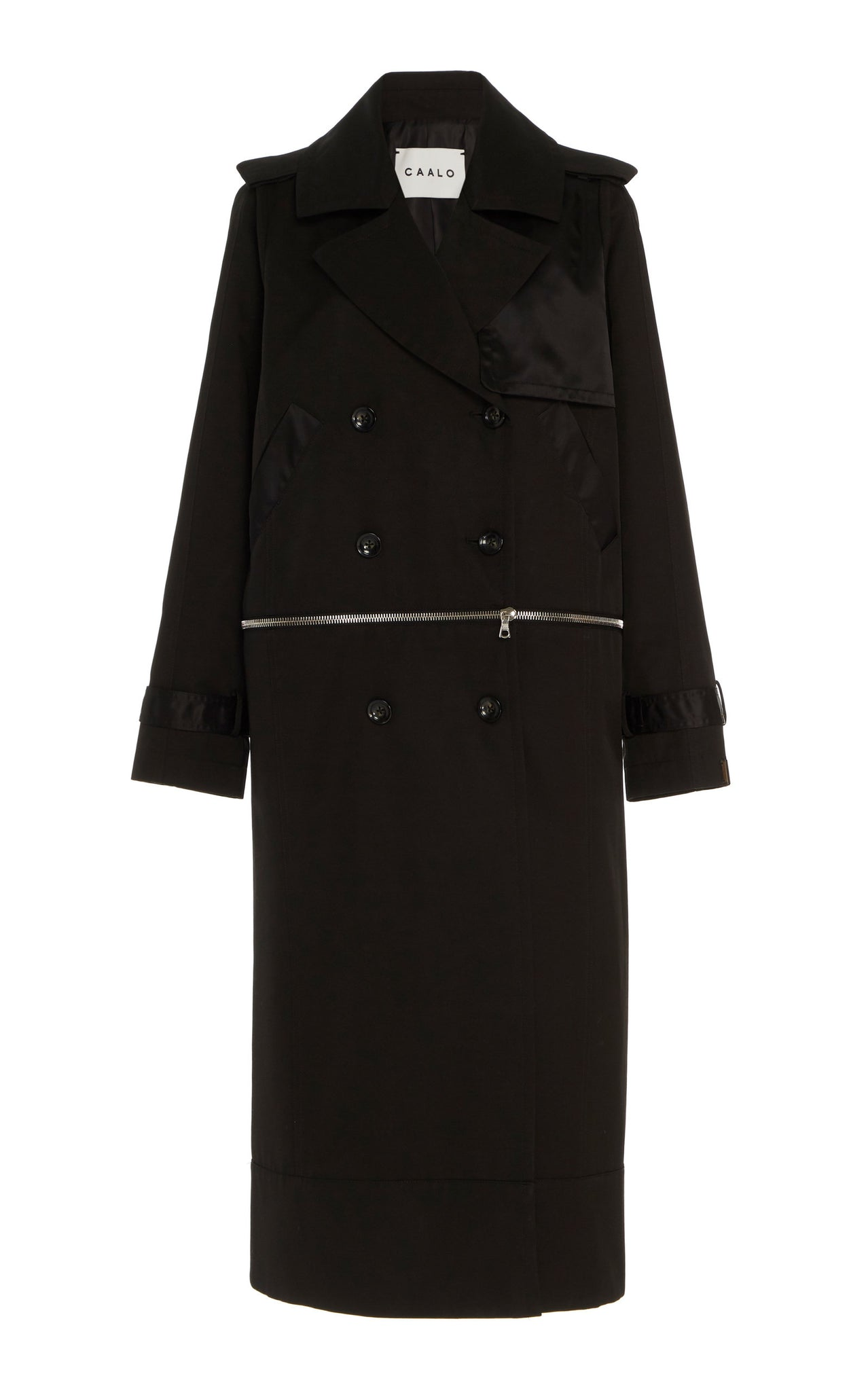 BLACK CONVERTIBLE HOODED TRENCH
