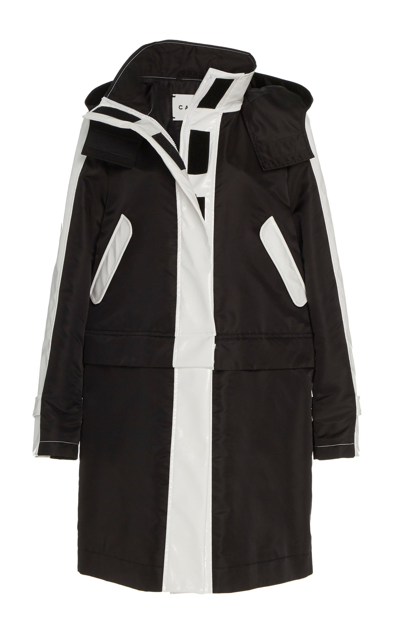 BLACK / WHITE GLOSSED CONVERTIBLE RAINCOAT