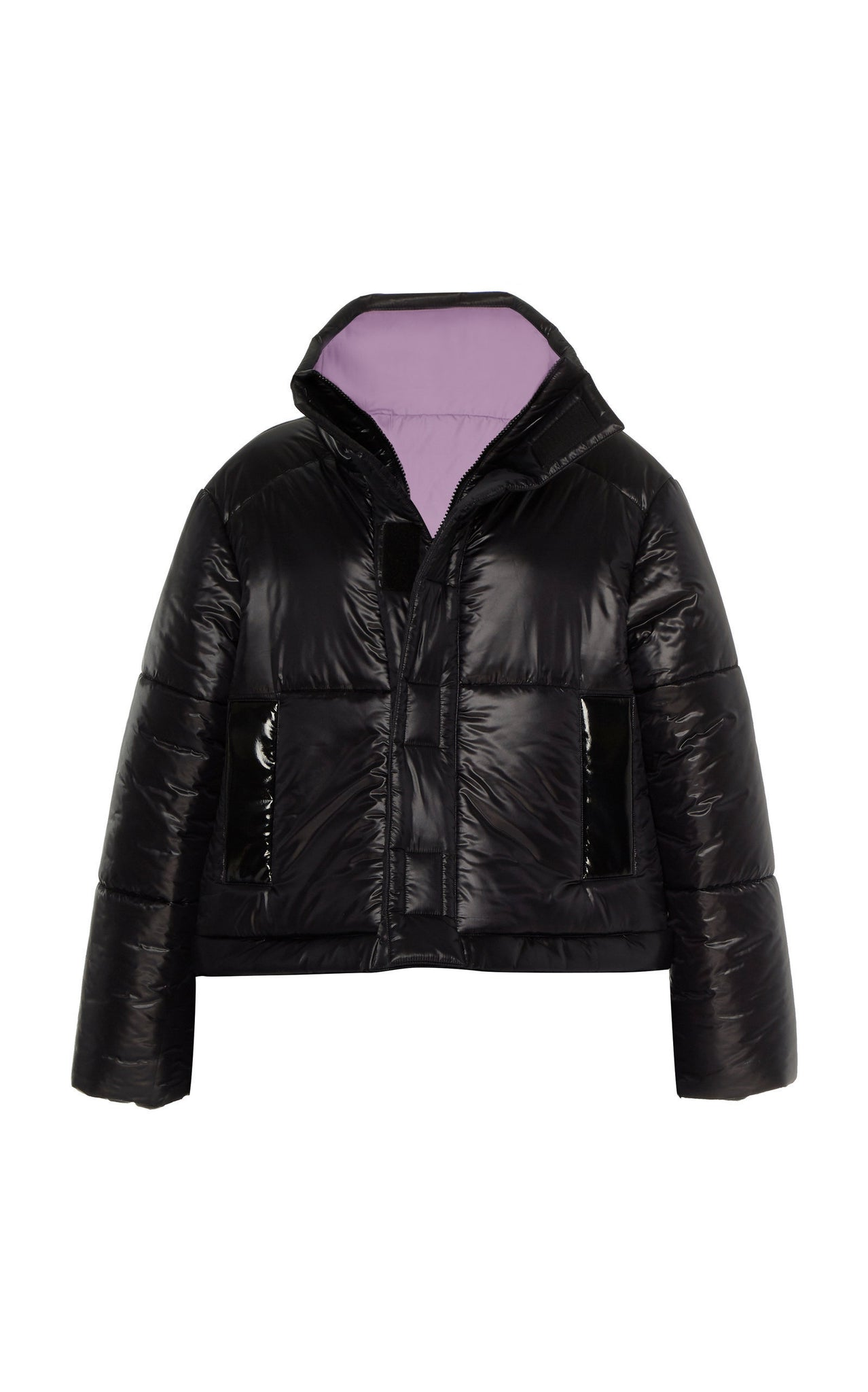 BLACK / LAVENDER REVERSIBLE CROPPED COAT