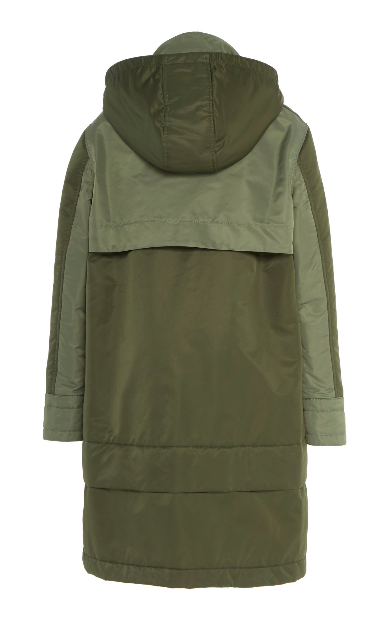 GREEN AVIATOR SATIN HOODED ANORAK
