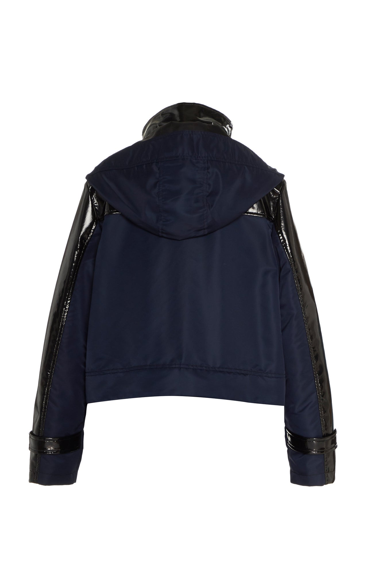 NAVY GLOSSED CROPPED RAINCOAT