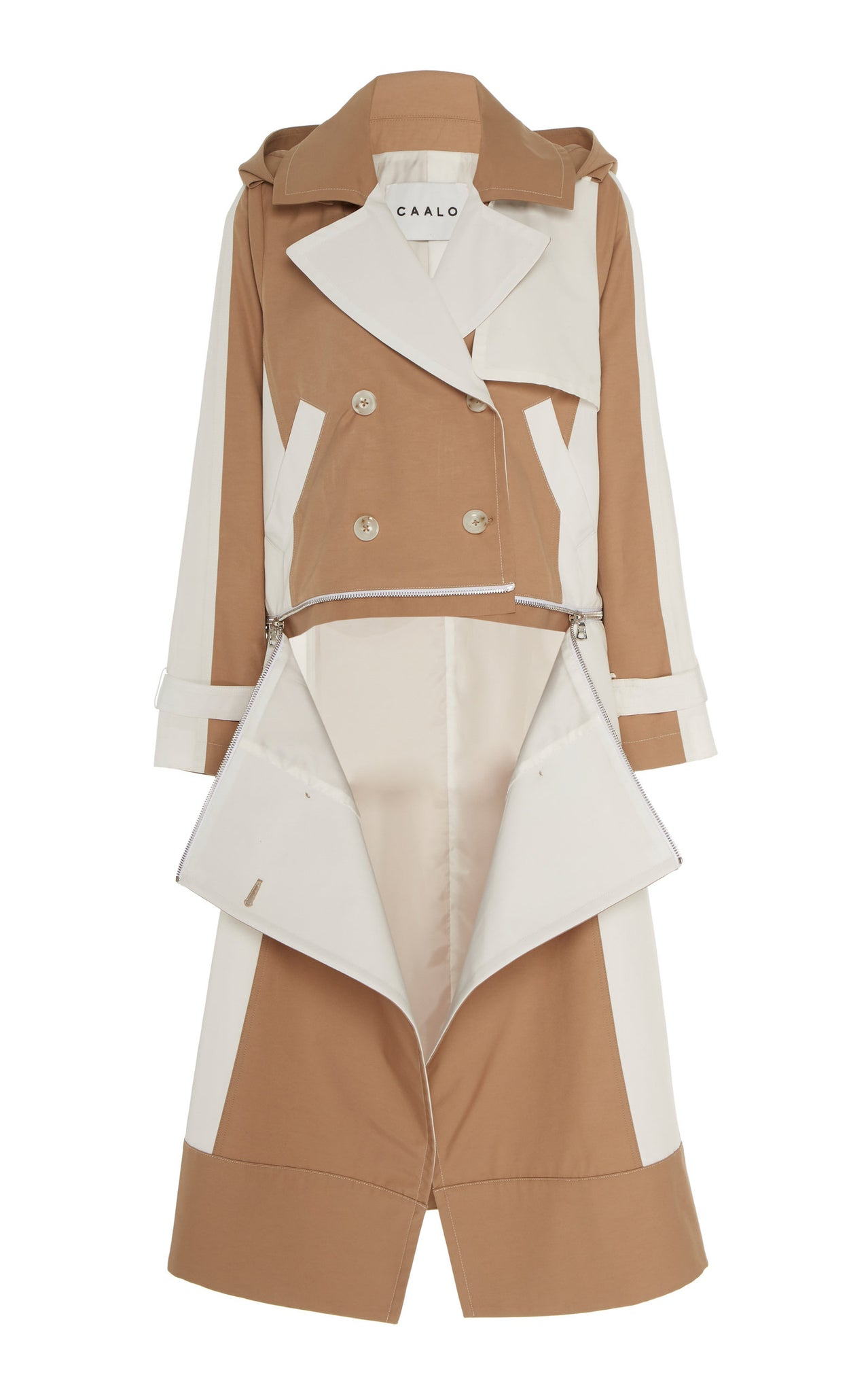 CAMEL / WHITE CONVERTIBLE HOODED TRENCH