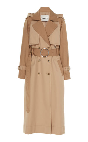 CAMEL LONG HOODED TRENCH