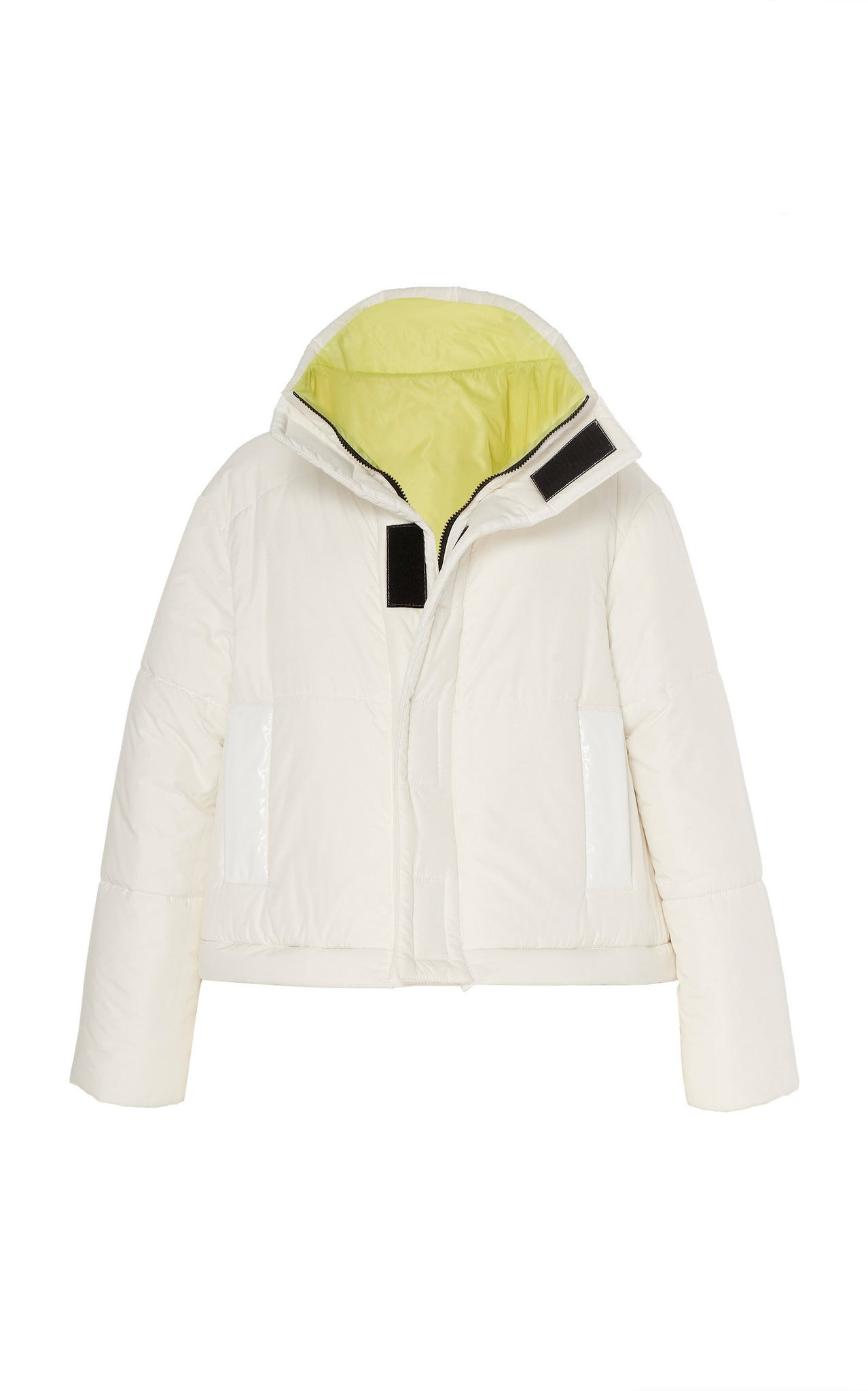 WHITE / ACID LIME REVERSIBLE CONVERTIBLE DOWN COAT
