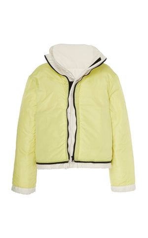 WHITE / ACID LIME REVERSIBLE CROPPED COAT