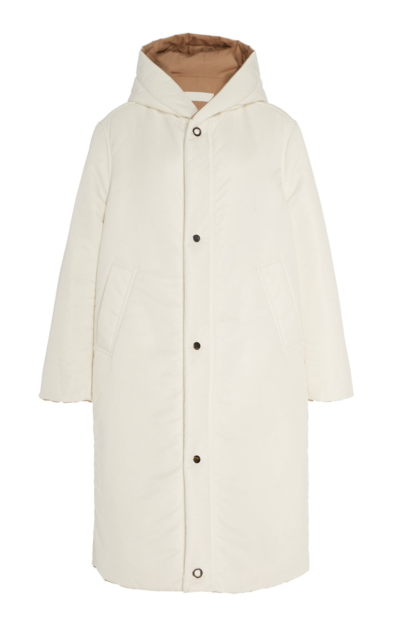WHITE / CAMEL REVERSIBLE SATIN DOWN COAT