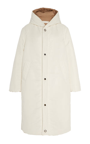 SUSTAINABLE REVERSIBLE SATIN DOWN COAT