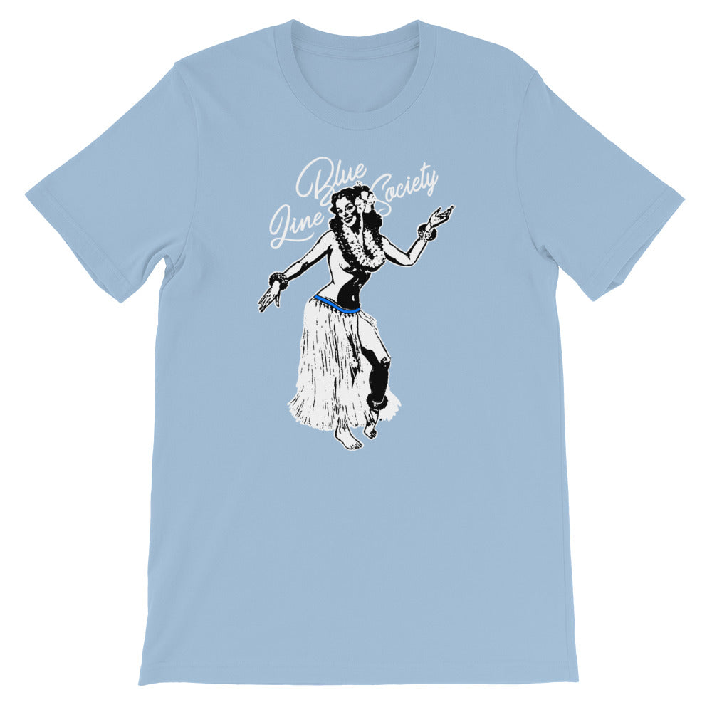 Blue Line Hula Girl.Short-Sleeve Unisex T-Shirt