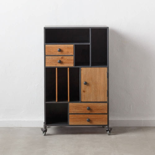 Mueble Auxiliar Negro Y Marron Natural Acero Madera Industrial 60.00 X 38.00 X 102.00