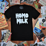 Load image into Gallery viewer, THE ORIGINAL 'MILK DRIP' TEE - black t-shirt with white drippy text reading 'HOMO MILK'