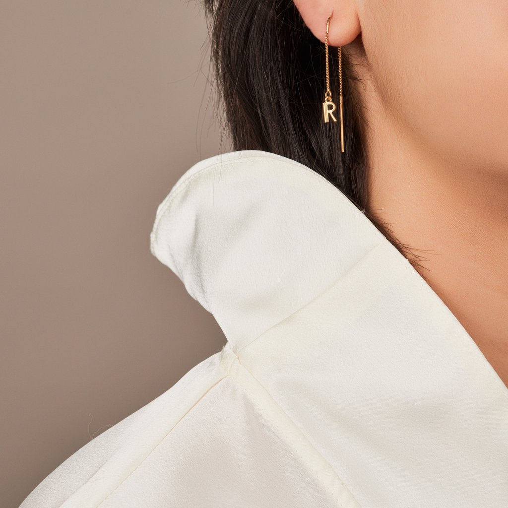 Rachel Jackson Initial Thread Earrings - Gold