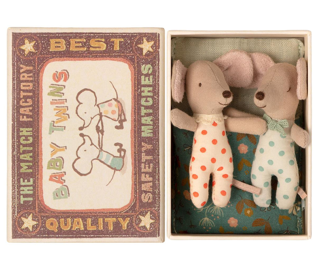 Maileg Twin Baby Mice In Matchbox