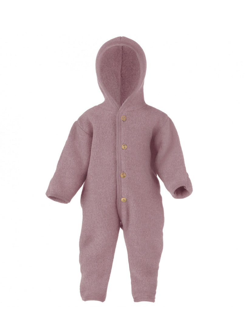 Merino Fleece Button Front Snuggle Suit Hoodie
