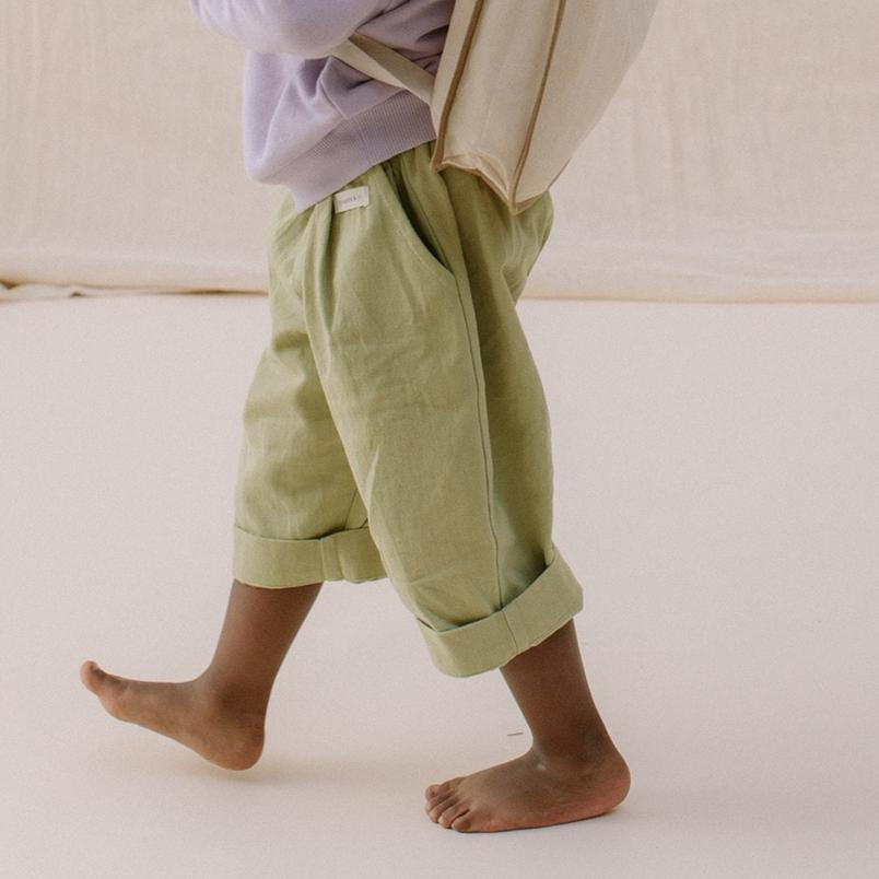 Claude & Co Slouchy Trousers In Sage Green
