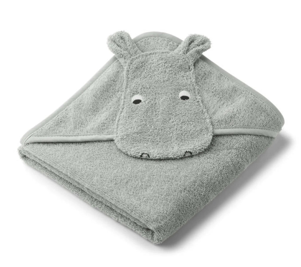 Liewood Hooded Towel Hippo Dove Blue