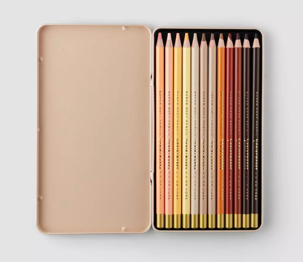 Printworks Set Of 12 Skin Tone Colour Pencils