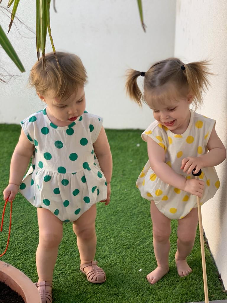 WORD Bright Spotty Romper - Green