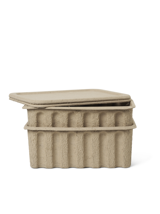 Ferm Living Set Of 2 Large Paper Pulp Storage Boxes