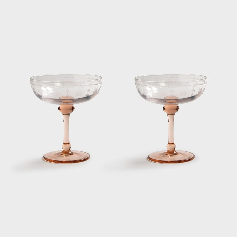 Klevering Coupe Champagne Floral Set Of 2