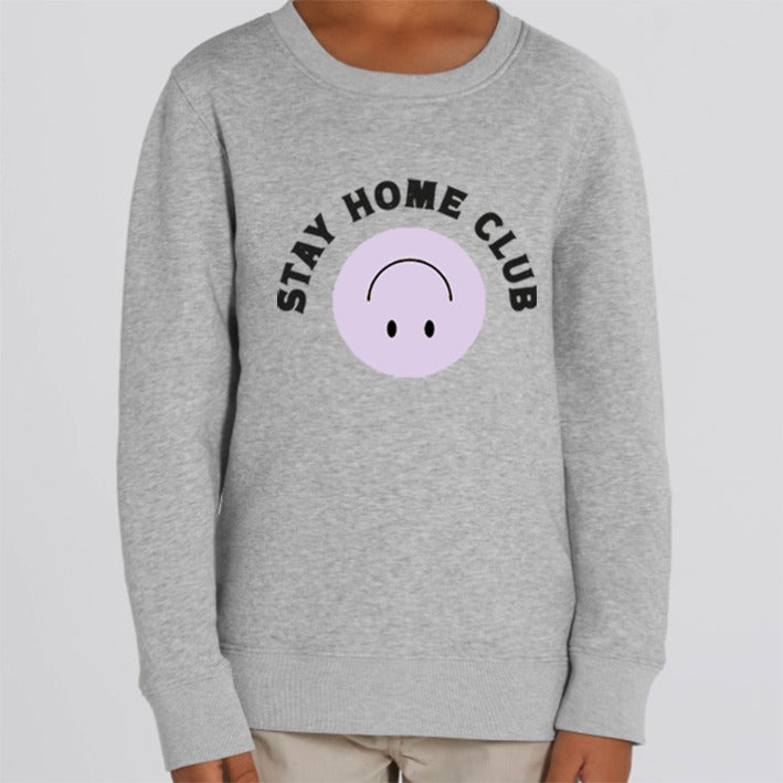 WORD COLLECTIVE STAY HOME CLUB Charity Lounge Sweat Grey Marl for littles
