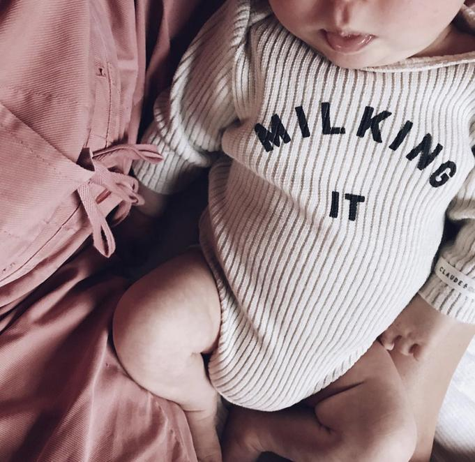 Claude & Co Milking It Oatmeal Rib Bodysuit